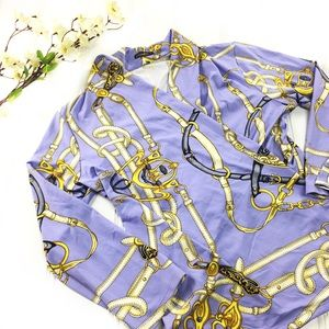 J. McLaughlin Faux Wrap Chain Lilac Top Blouse M